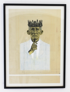JOERG KOZIOL 'A portrait of love', ink, pencil, acrylic pant on cardboard, 100cm x 70cm, 2015-2016