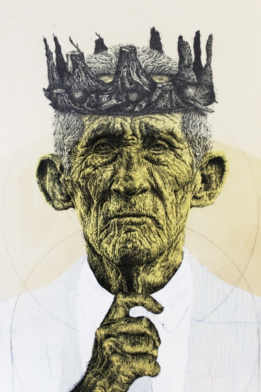 JOERG KOZIOL 'A portrait of love', ink, pencil, acrylic pant on cardboard, 100cm x 70cm, 2015-2016
