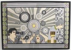 KERSTIN HEINZE-GROHMANN 'Flut des Wissens', acryl on paper, 100cm x 70cm, 2017