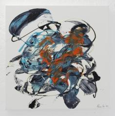 NORA GELLERT 'Unentschlossenes Herz', acryl on paper, 40cm x 40cm, 2010