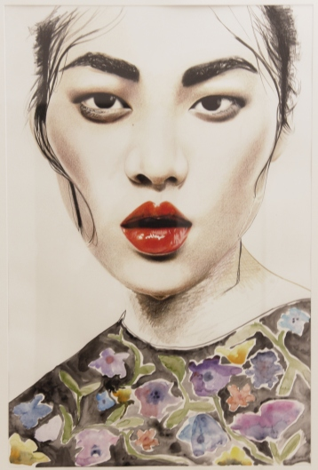 ANNA-LENA KRIBBELER 'Arroser les fleurs', watercolour on paper, 84cm x 60cm, 2016