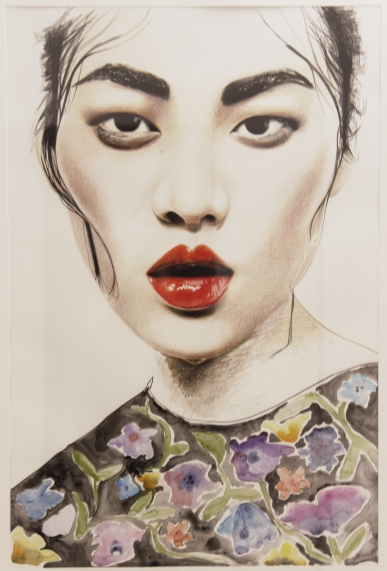 ANNA-LENA KRIBBELER 'Arroser les fleurs', watercolour on paper, 84cm x 60cm, 2016