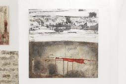 SOUSSEN 'Horizont', structural paste, acrylic, oil, gauze on cotton, 100cm x 100cm, 2010
