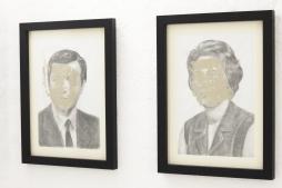 CATARINA MANTERO 'Mask I' + 'Mask II', graphite, acrylic and cellophane on paper, 42cm x 30cm, 2015