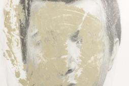 CATARINA MANTERO 'Mask I', graphite, acrylic and cellophane on paper, 42cm x 30cm, 2015