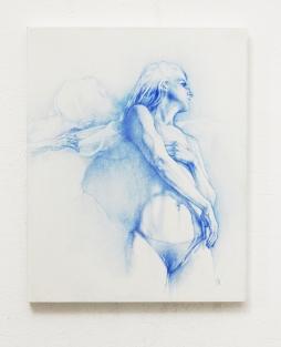 DAAN NOPPEN 'Adrift', blue pencil on wood panel', 24cm x 30cm x 2,2cm, 2017