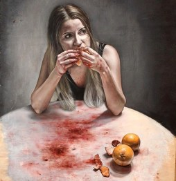 Juliette Nicaise Bloody Fruit, 2018, Oil on wood, 82 x 138 cm