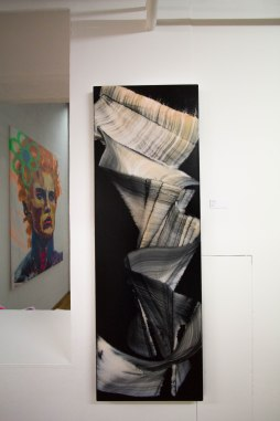 Andreas Jungk, Blindfolded, 2017, Acryl on canvas, 50 x 150 cm